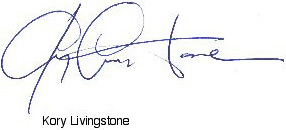 Picture of Kory Livingstones signature.